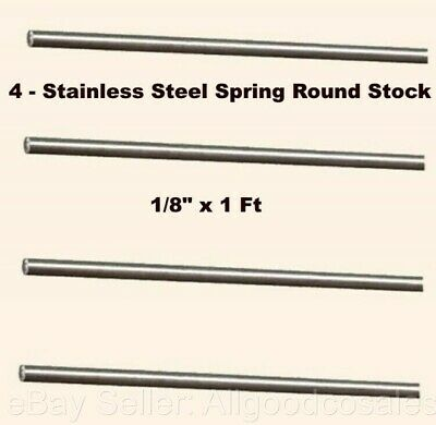"""1//8/"""" x 1 Ft 302 Alloy Rods 4 - Lengths Stainless Steel Spring Round Stock"""