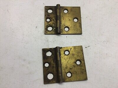 """Antique Pair Of Solid Brass 2"""" X 2 7/16"""" Hinges"""