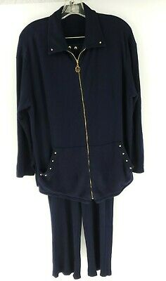 St John Sport by Marie Gray womens size m medium dark blue jacket and pants