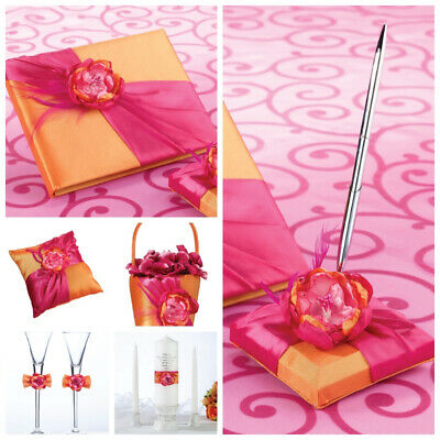Flower Basket, Ring Pillow, Champagne Flutes, Candles, Guest Book and Pen