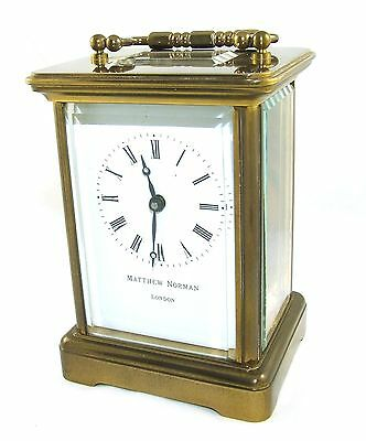 MATTHEW NORMAN LONDON SWISS MADE Brass Carriage Clock with Key : Working (49)