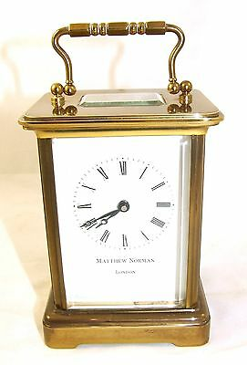 Wonderful Swiss Brass Carriage Clock : MATTHEW NORMAN LONDON SWISS MADE