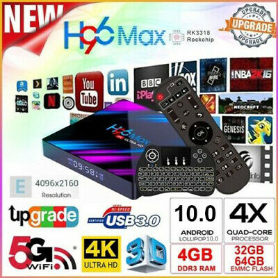 H96 Max RK3318 Android 10.0 Smart Tv Box 4Go 64Go Dual 4K WiFi Full 1080P Media