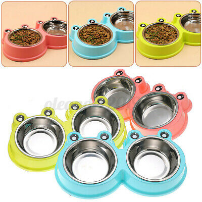 Dog Pet Cat Double Bowl Stainless Steel Food Water Feeder Feeding Non-slip Bowls