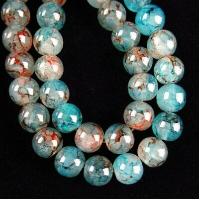 """1Strand 10mm Blue Red Fire//Dragon Veins Agate Ball Loose Bead 15.5 /"""" A-557TZ"""