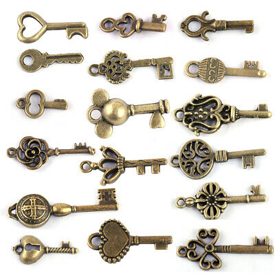 18pc Assorted Antique Vintage Bronze Steampunk Keys Charm Craft Pendant Findings