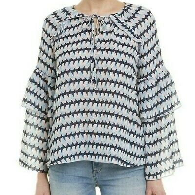 $278 NWT PARKER SzS TIERED LONG SLEEVE CREW NECK BLOUSE TOP TRIXIE PRINT