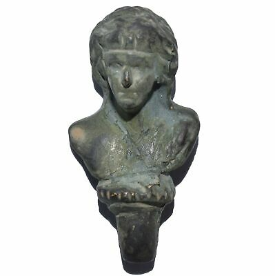 Exceptional Miniature Bronze Bust Greek God Dionysus Oxidized Patina Handcrafted