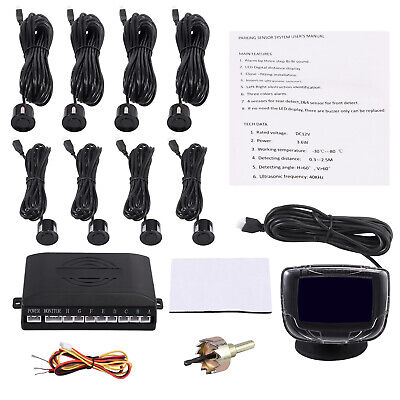 Front Rear Car Reverse Parking 8 Sensors Black Kit Alarm Buzzer System +Display