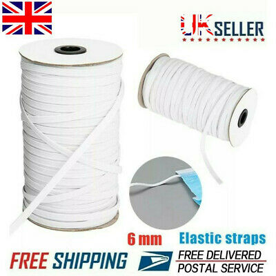 6mm Elastic Cord Flat White Band Sewing Soft For Face Masks Craft