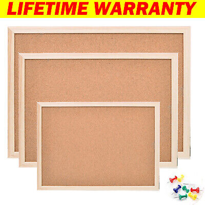 Cork Pin Board 300 x 400mm Small Notice Pin Message Memo Bulletin Boards with 8 Push Pin Wooden Frame for Office School Bedroom Kitchen