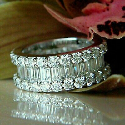 4ct Baguette Cut Diamond Cluster Cocktail Engagement Ring 14k White Gold Finish