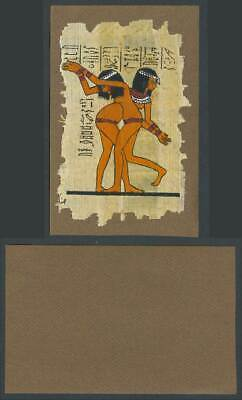 Egypt Genuine Hand Painted Papyrus Old Card Novelty Egyptian Art 2 Women Dancers