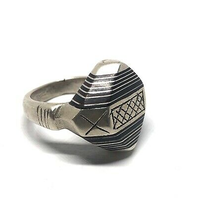Antique Saharien Silver Ring From Morocco,Handmade Silver Ring,Tuareg Ring,Size US:9,Moroccan Jewelry