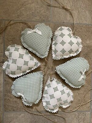 Handmade Set Of 6 Shabby Chic Hanging Love Hearts Padded Heart Floral Gingham