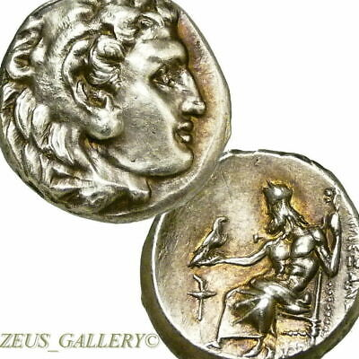 ALEXANDER the Great LIFETIME Coin AU Finest Style! Ancient Greek Silver Herakles
