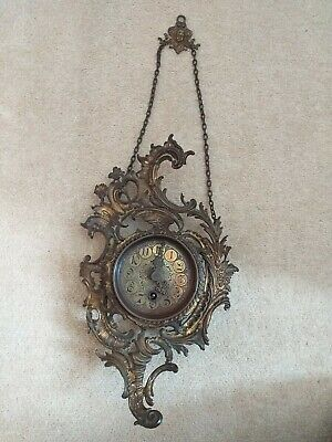 Brass French  Wall Hung Cartel Clock