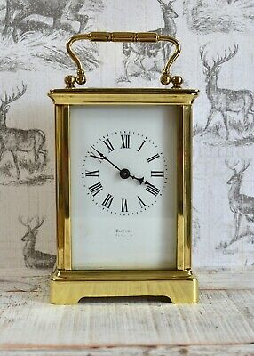 Antique Lovely Sawers Edinburgh Mechanical Brass Carriage Clock & Key VGC