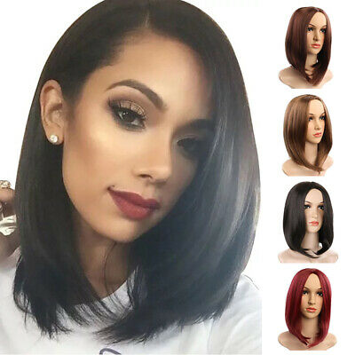 Natural Womens Ladies Short Glueless Straight Wig Lace Front Bob Party Hair Wigs