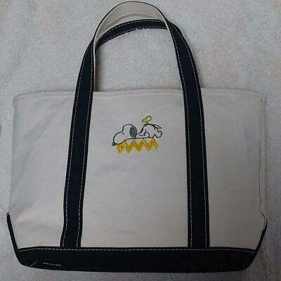 Peanuts Snoopy Museum TOKYO Embroidery Tote Cotton Natural Tanned Leather Strap