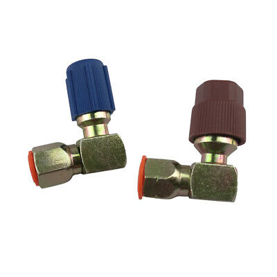 2 Pieces A//C 90-degree 7//16L 3//8H Adapter Retrofits R12 to R134a with Caps