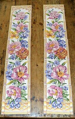 10 x Decorative Floral Fireplace Tiles 15cm x 15cm