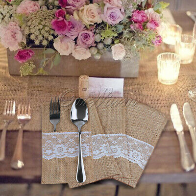 10/50× Hessian Burlap Lace Cutlery Pouch Wedding Tableware Knife Fork Holder Bag