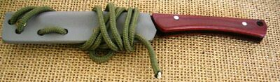 """CUSTOMIZED by LEE NEWT LIVESAY  """"ZIPPER"""" FIXED BLADE NECK KNIFE, RED MICARTA"""