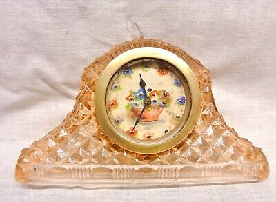 lovely art deco glass clock pink working 30hr hand painted dial anemone flowers