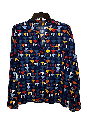 L Women's Blue Blouse With Colorful Triangles Pre-owned Very Good Condition