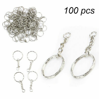 100pcs Keyring Blanks Silver Tone Key Chains Findings Split Rings 4 Link 25mm
