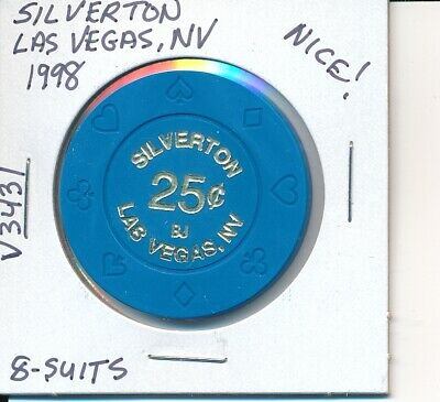 $.25 Casino Chip - Silverton Las Vegas Nv 1998 8-Suits #V3431 Gaming Cheque Nice
