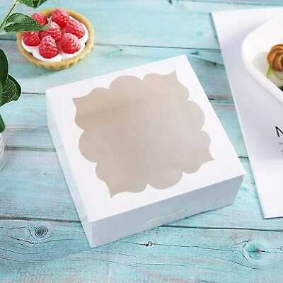 60 Pack White Bakery Boxes with Window Pastry Box Donut Boxes for Small Pastries