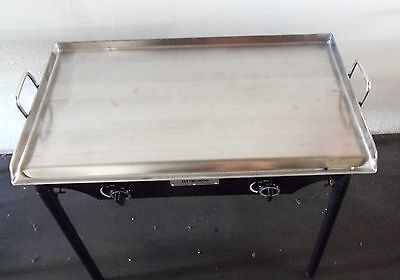 """HEAVY 32"""" Wide Stainless Steel Flat Top Double Griddle Grill NEW"""