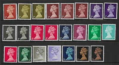 SG723-744 Set of 23 UNMOUNTED MINT QEII Machin stamps.