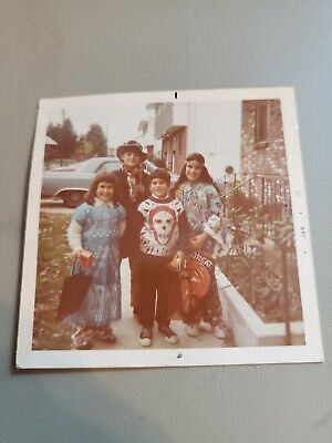 "VTG 70s KIDS TRICK OR TREATING HALLOWEEN COSTUME 3.5 X 3.5"" PHOTO"