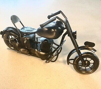"60s Harley Davidson Old Hardtail Chopper Motorcycle Metal Model 12.5/"" Home Decor"