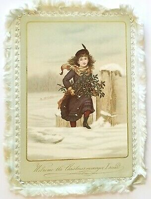Victorian Girl with Holly, in Deep Snow Double-sided Blue silk Fringed Xmas Card