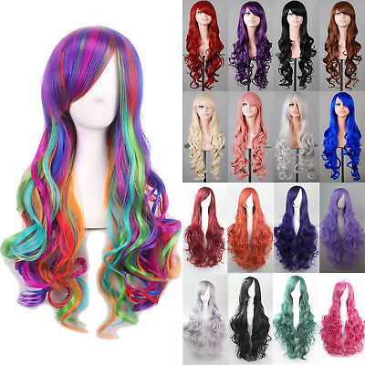 Long Curly Wavy Rainbow Wigs Women's Ladies Cosplay Costume Full Hair Party Wig