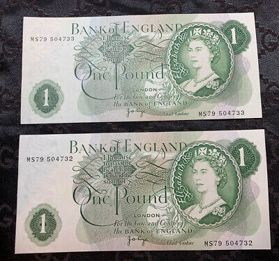 Bank of England £1 Pound X 2 Consecutive Replacement PAGE Prefix MS79 504732/33