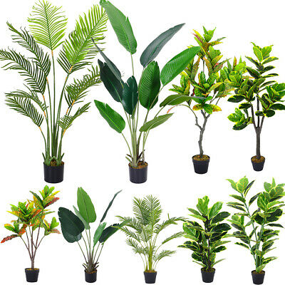 Large Artificial Plants Realistic Rubber Tree Geranium Garden Banana Ficus Tree