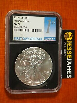 2019 $1 American Silver Eagle Ngc Ms70 First Day Of Issue Fdi 1St Black Core