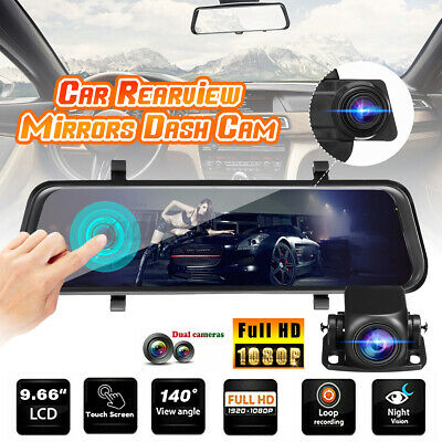 10'' Dual Lens HD 1080P Car DVR Touch Dash Cam Rearview Mirror Camera Recorder