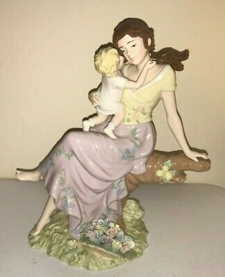 "O'Well Novelty Co. MOTHER WITH CHILD PORCELAIN FIGURINE 11"" STATUE Colorful"