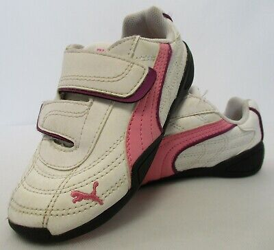 Size 3 Youth PUMA Girls/' Gray Smash Butterfly Double Hook /& Loop Sneakers