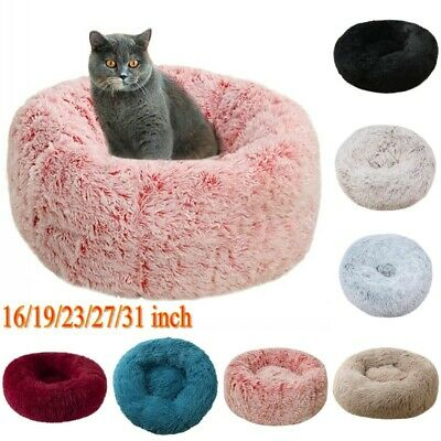 Plush Pet Dog Cat Bed Fluffy Soft Warm Calming Bed Sleeping Kennel Nest Donut