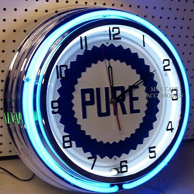 "18"" PURE Gasoline Motor Oil Gas Station Sign Double Neon Clock"