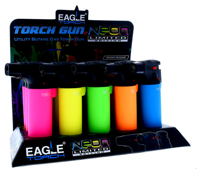 Jumbo Eagle Butane Gas Torch Gun Lighter Pack Of 5 Neon Colors (Limited Edition)