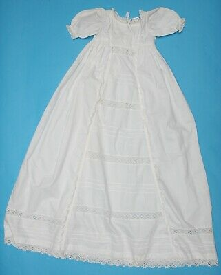Antique Vintage White cotton Baby Christening gown (N170)