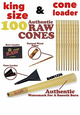 RAW classic KING Size Pre-Rolled Cones (100 Pack)+RAW KING size cone loader